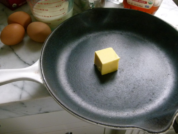 melt the butter in the pan in the oven