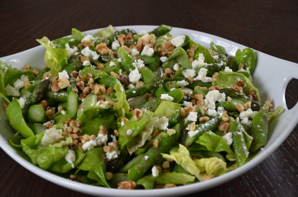 asparagus salad with feta, walnuts and mint dressing | pamela salzman