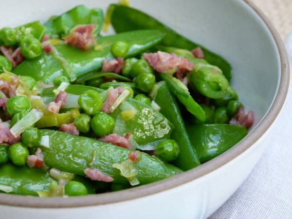 three pea and turkey bacon sauté | pamela salzman