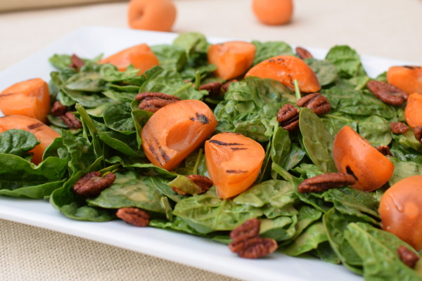 spinach salad with grilled apricots and honey-mustard dressing | pamela salzman