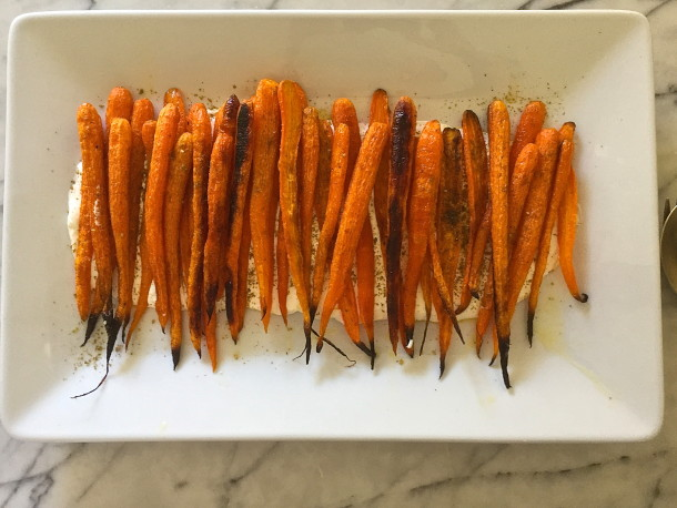 roasted carrots with garlic yogurt | pamela salzman