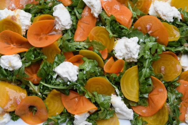 arugula salad with persimmons, golden beets and burrata | pamela salzman