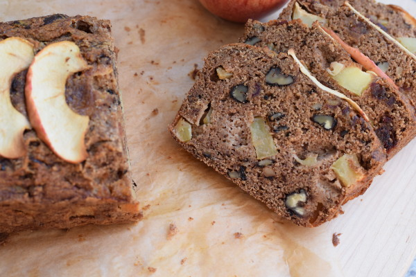 whole grain apple quick bread with almond pulp | pamela salzman