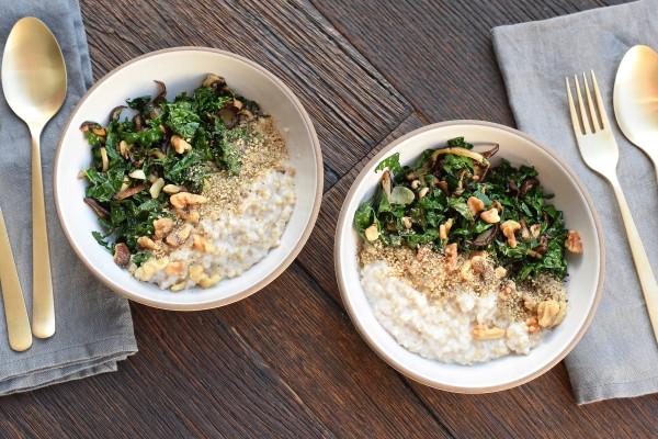 savory oats witk sautéed kale, mushrooms and walnuts | pamela salzman