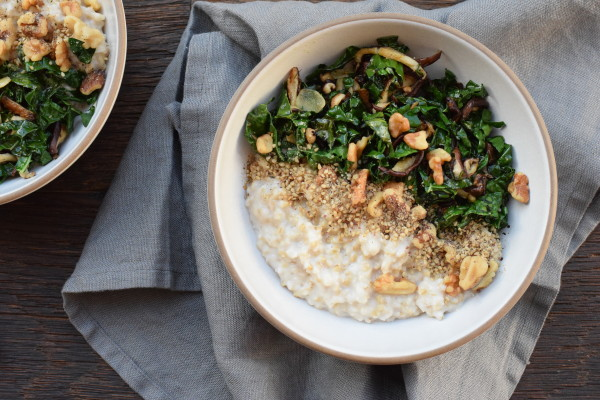 savory oats with sautéed kale, mushrooms and walnuts | pamela salzman