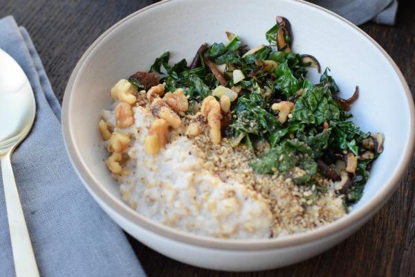 savory oats with kale, mushrooms and walnuts | pamela salzman