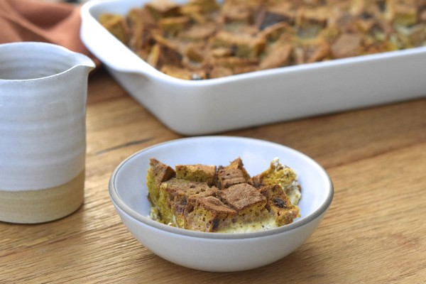 pumpkin bread pudding with apple caramel sauce | pamela salzman