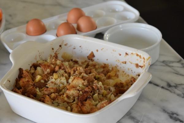 leftover stuffing + beaten eggs = stuffing egg bake