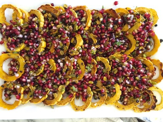 roasted delicata squash with pomegranate - pistachio relish | pamela salzman