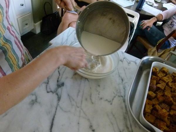 whisk half-and-half mixture into egg mixture