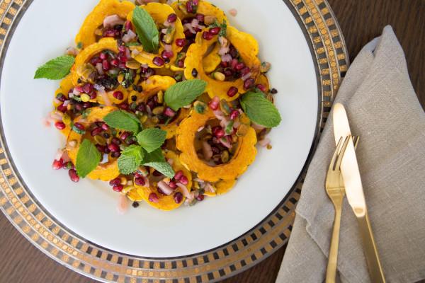 delicata squash with pomegranate-pistachio relish | pamela salzman