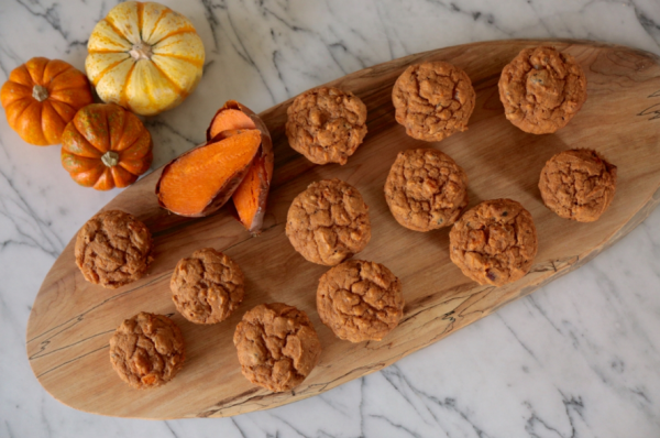 whole grain sweet potato and date muffins | pamela salzman