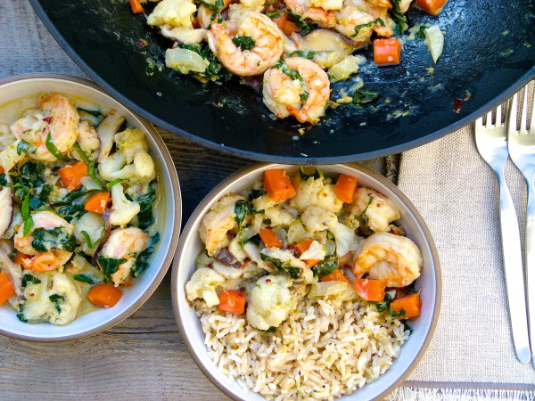 shrimp and vegetable stir fry with coconut-basil sauce | pamela salzman