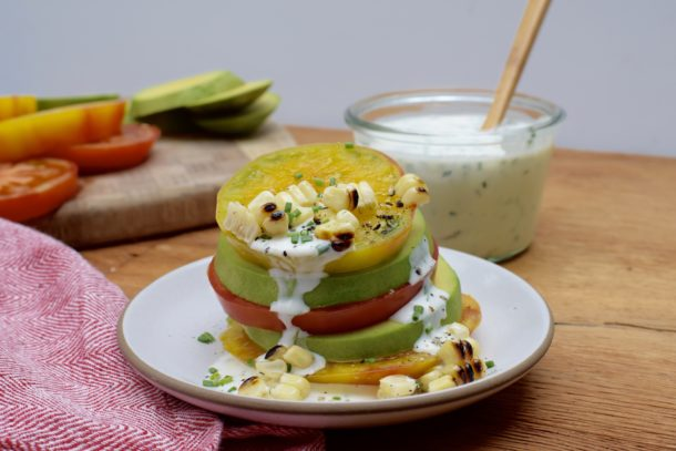 Avocado Tomato Stacks with Ranch Dressing|Pamela Salzman