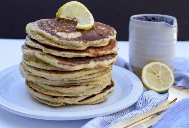 Fluffy Whole Grain Lemon Poppy Seed Ricotta Pancakes|Pamela Salzman
