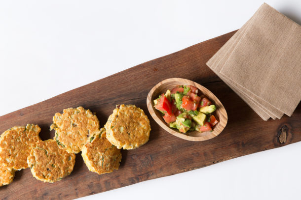 Fresh Corn Cakes with Avocado Salsa|Pamela Salzman
