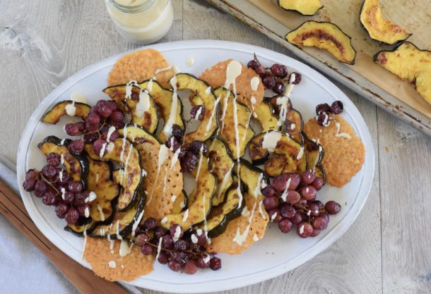 Roasted Acorn Squash with Roasted Grapes and Pine Nut Dressing | Pamela Salzman