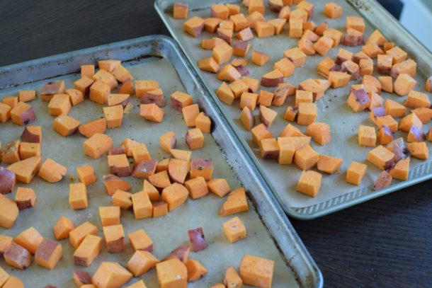 Roasted Sweet Potatoes and Leeks with Roasted Garlic Dressing | Pamela Salzman