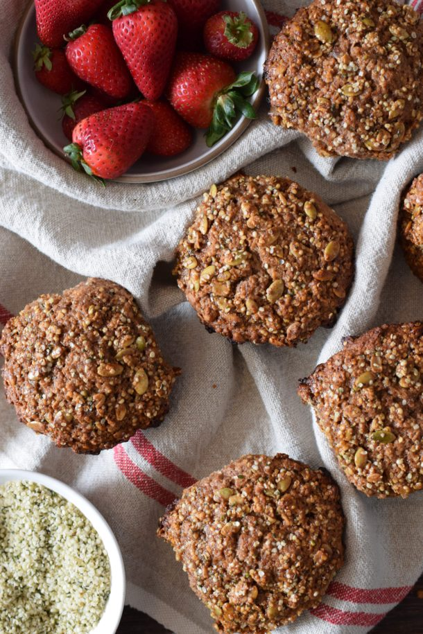 Strawberry Jam Spelt Flaxseed Muffins with Hemp Seeds | Pamela Salzman