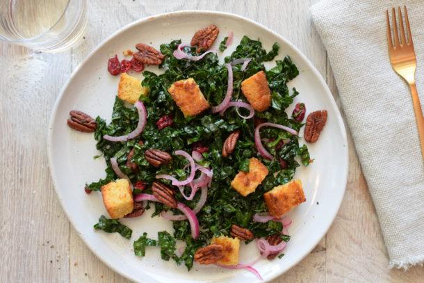 Harvest Kale Salad with Cornbread Croutons | Pamela Salzman
