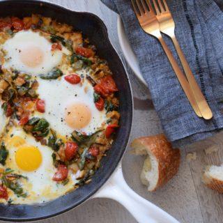 Baked Eggs and Greens (Green Shakshuka) | Pamela Salzman
