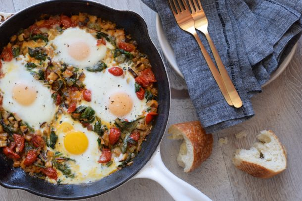 Baked Eggs and Greens (Green Shakshuka) | Pamela Salzman