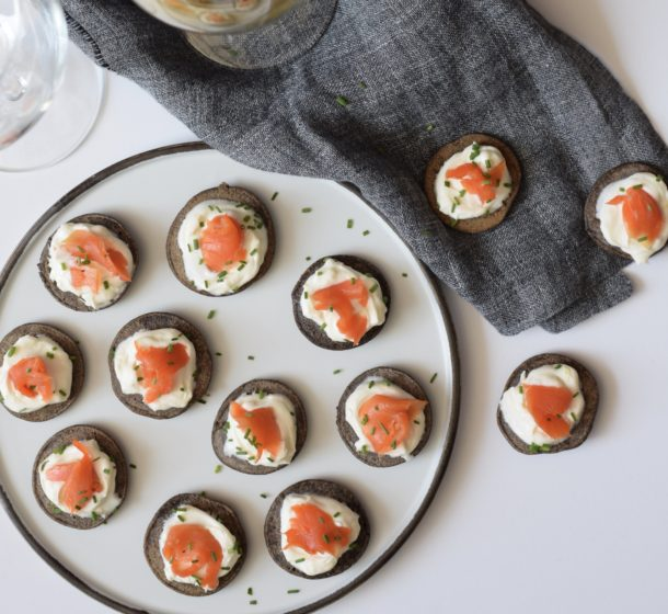 Buckwheat Blinis with Smoked Salmon and Lemon Creme Fraiche | Pamela Salzman