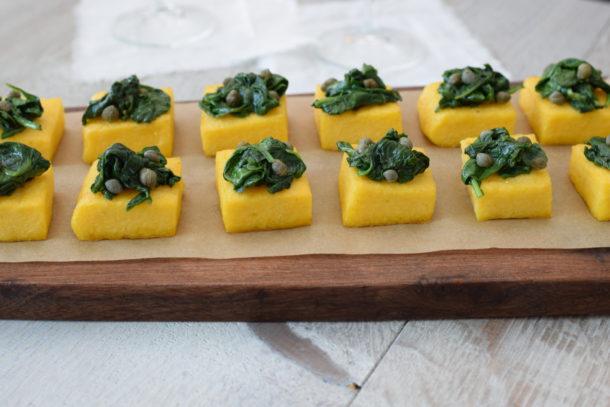 Polenta Crostini with Sautéed Spinach | Pamela Salzman