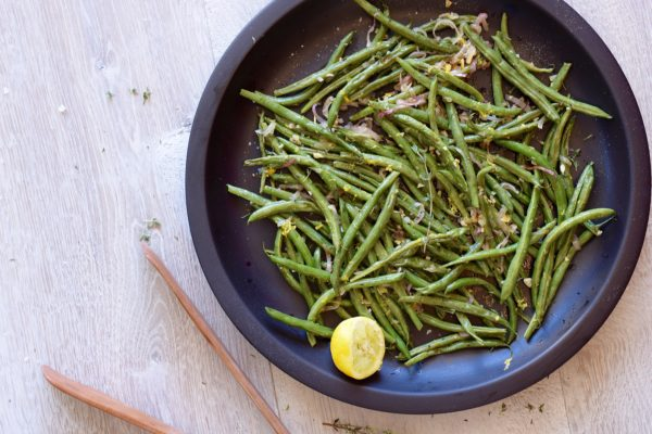 roasted green beans with lemon and thyme | pamela salzman