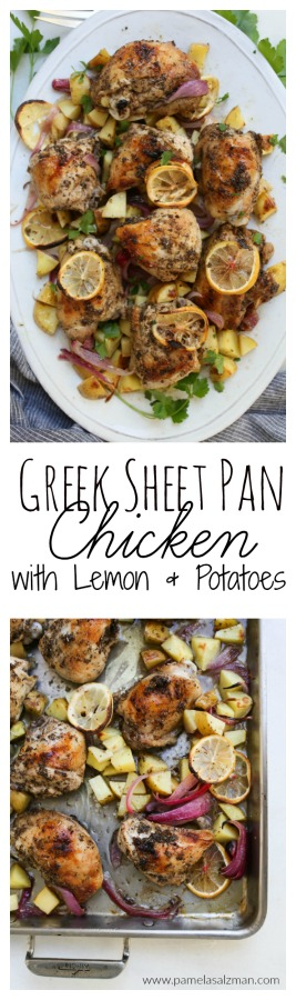 Greek Sheet Pan Chicken with Lemon and Potatoes | Pamela Salzman
