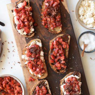 Roasted Strawberry Bruschetta with Honey Ricotta and Grilled Bread | Pamela Salzman