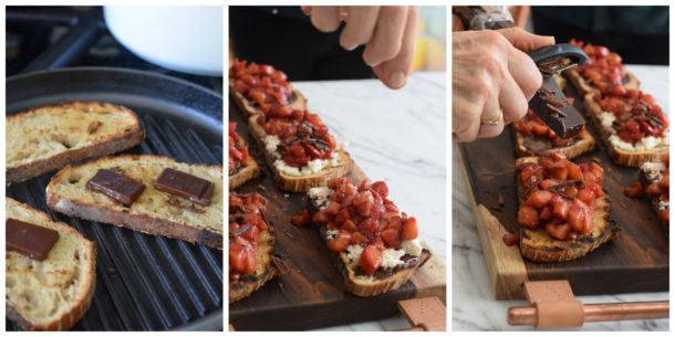 Roasted Strawberry Bruschetta with Honey Ricotta and Grilled Bread | Pamela Salzman
