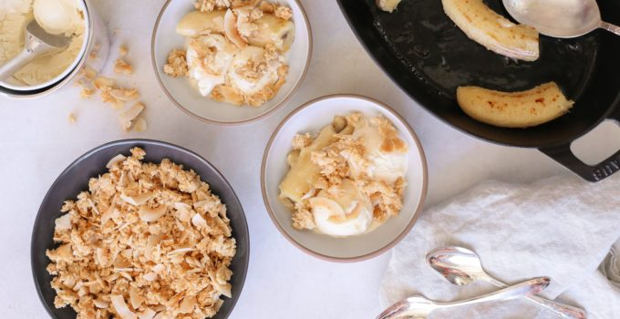 warm banana sundaes with coconut crumble recipe