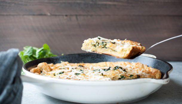 Savory Dutch Baby Oven Pancake with Spinach and Gruyere Cheese Recipe