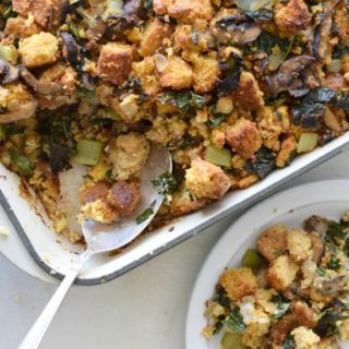 Cornbread Stuffing with Kale and Mushrooms | Pamela Salzman