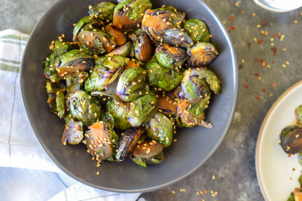 Roasted Sesame-Ginger Brussels Sprouts recipe from The Food Therapist | Pamela Salzman