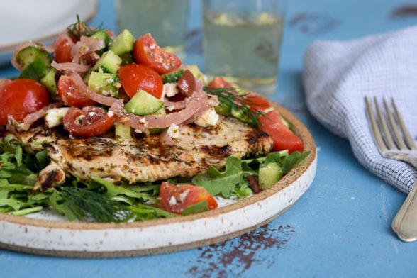 Greek-style Grilled Chicken Paillard | Pamela Salzman