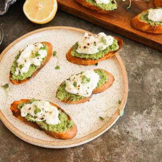 Pea and burrata crostini recipe | Pamela Salzman