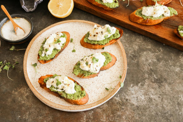 Pea and burrata crostini recipe | Pamela Salzman