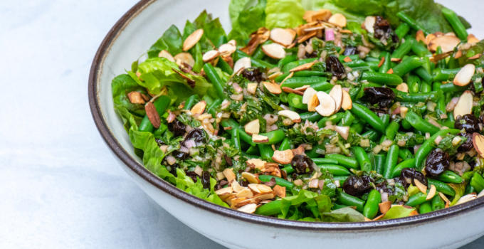 Mixed Greens With Green Beans, Almonds and Dried Cherry Vinaigrette Recipe