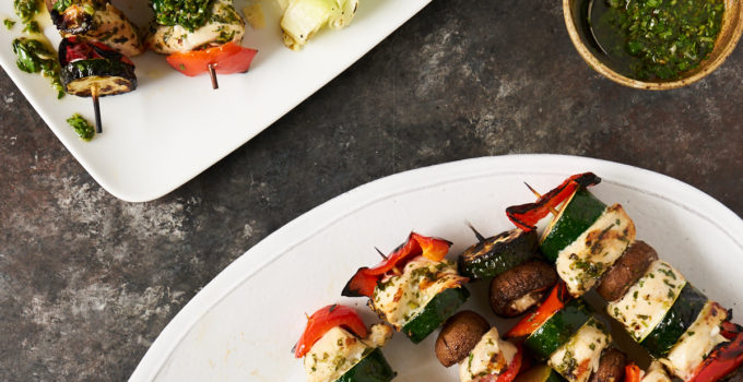 Chicken and vegetable kabobs with chimichurri sauce