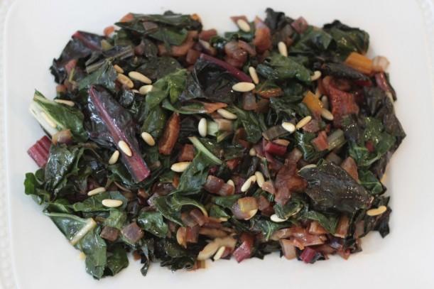 sauteed swiss chard with dried apricots and pine nuts|pamela salzman