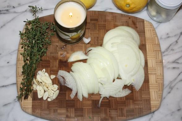 sliced onions and garlic, fresh thyme