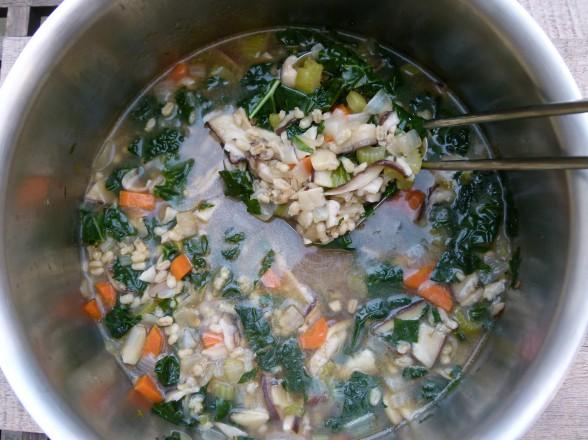 shiitake mushroom-barley soup with kale