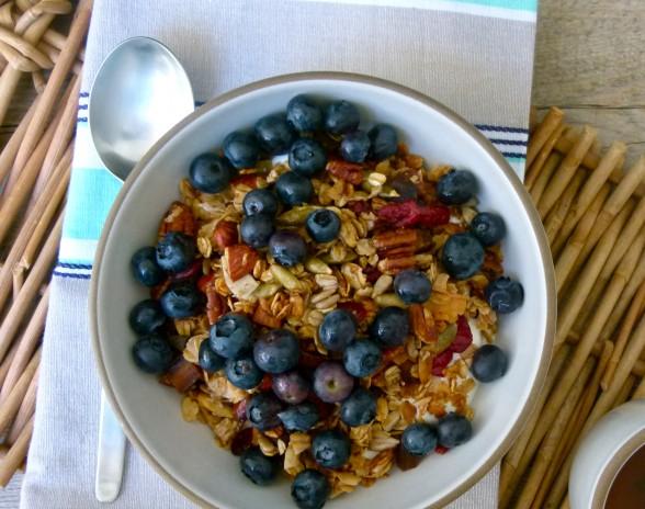 homemade granola with yogurt and blueberries