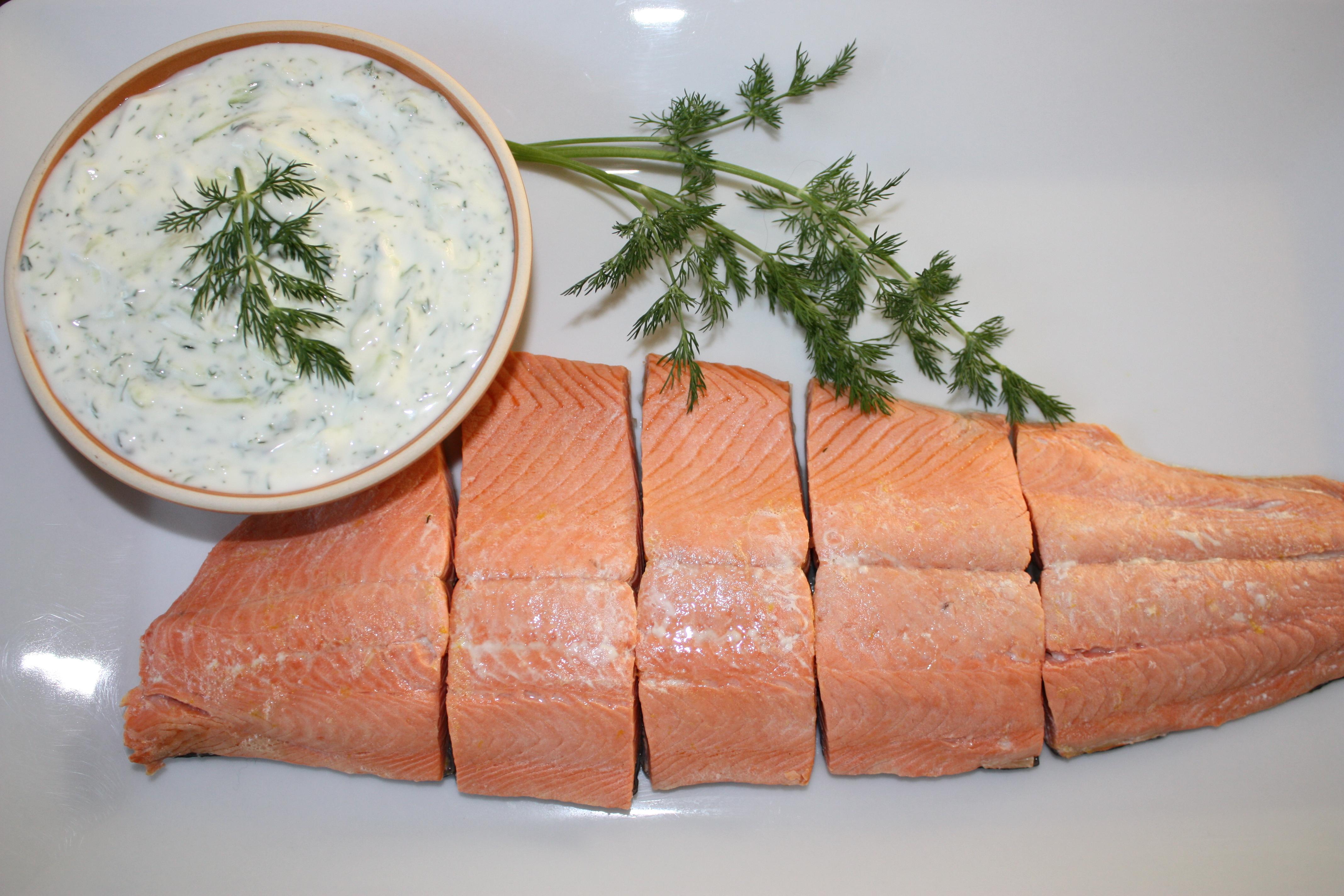 ... wild salmon with cucumber-yogurt sauce | Pamela Salzman & Recipes