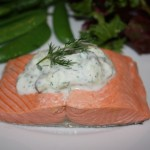citrus poached wild salmon with cucumber-yogurt sauce
