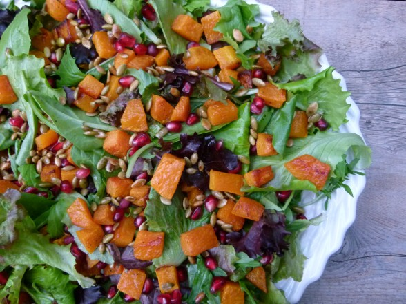 butternut squash salad with pomegranates and toasted pumpkin seeds | pamela salzman