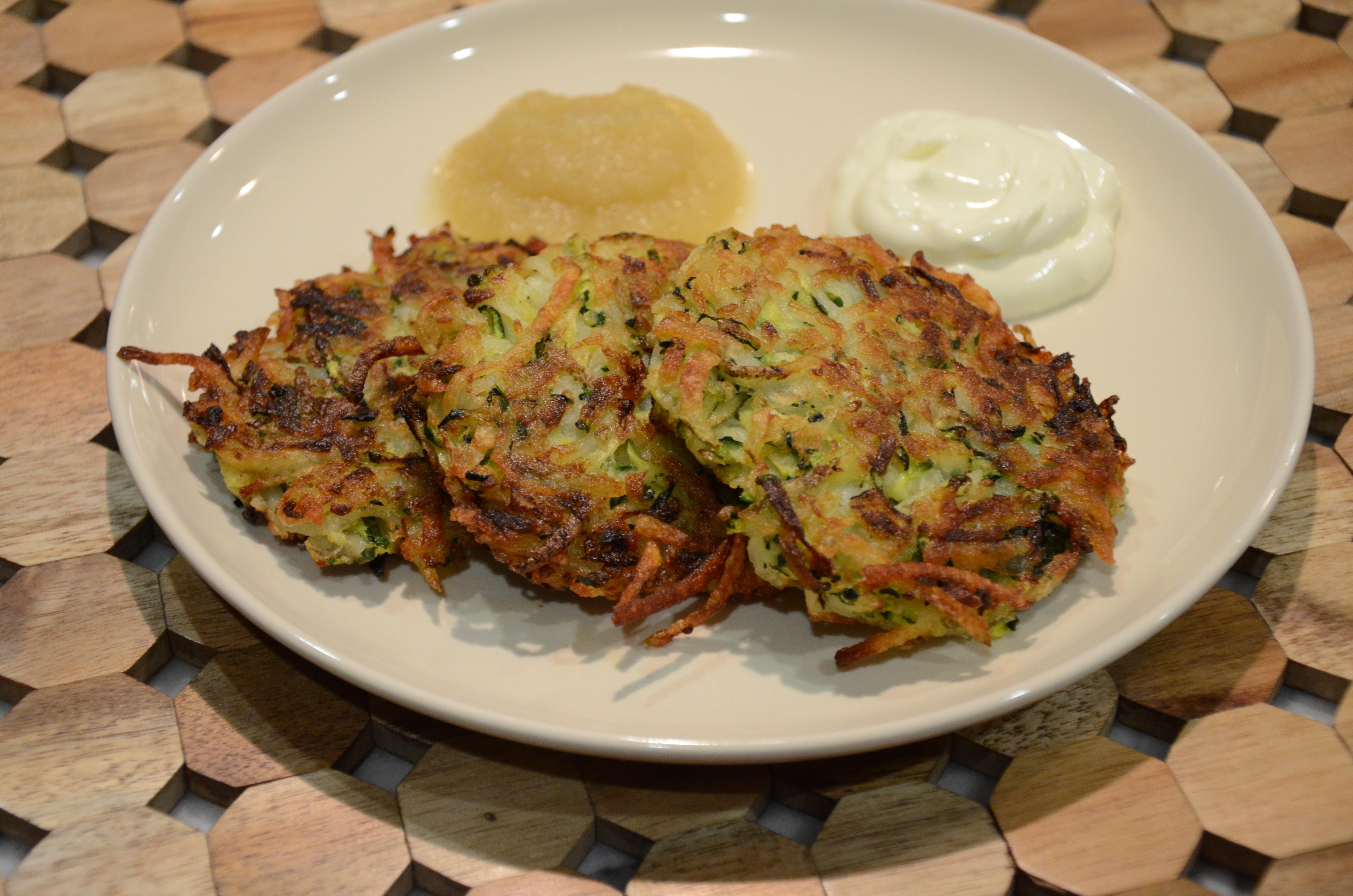 zucchini-potato latkes | Pamela Salzman & Recipes