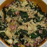 farro and kale with roasted pears and turkey bacon